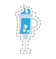 blue cocktail glass cup with ice dot line vector image