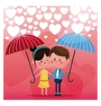 couple loving umbrella rain heart background vector image
