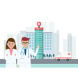 doctors stand in front of hospital building with vector image