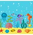 Marine life seamless pattern with sea animals vector image