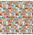 Retro city houses seamless colorful pattern vector image