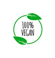 round vegan eco bio green logo with leaf vector image