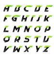 Speed alphabet black and green letters creative vector image