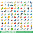 100 finance icons set isometric 3d style vector image