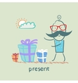 man with gifts vector image