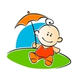 Little baby holding a sunshade or umbrella vector image