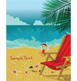 summer background with long chair vector image