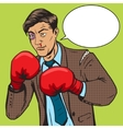 Businessman fights in boxing gloves pop art vector image