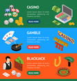 casino and gambling game banner horizontal set vector image