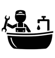 plumber on bathroom icon vector image