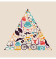 Retro hipsters icons triangle vector image