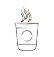 sketch draw plastic cup coffee portable vector image