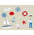 Funny nautical set vector image vector image