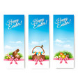 three banners with easter backgrounds eggs in vector image vector image