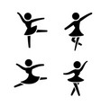 set of ballet icons in silhouette style vector image