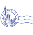 Shabby stamp with Statue of Liberty vector image vector image