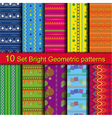 10 Set Bright Geometric patterns vector image vector image