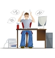 Boy can not work because of loud noise in the vector image