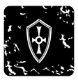 Cross shield icon grunge style vector image