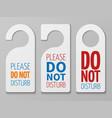 do not disturb room signs hotel door vector image