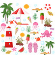 summer set beach stuff flat style vector image