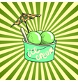 Three balls of phistache ice cream vector image