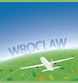 wroclaw flight destination vector image