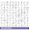 100 love icons set outline style vector image