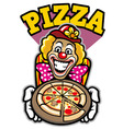 clown presenting the pizza vector image vector image