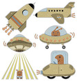 Set of cute spaceships vector image