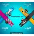 Infographic teamwork and brainstorming with Flat vector image