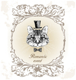 beautiful cat card in vintage vector image