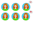 emotions set of 6 girls avatar vector image
