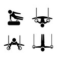 set of gymnastic icons in silhouette style vector image