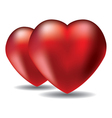 two red hearts vector image