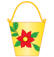 Yellow bucket with flower pattern vector image