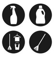 sanitation or cleaning icons set in circle button vector image