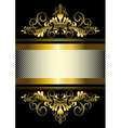 Gold ornament and gold stripes with ribbon vector image