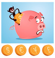 stealing money from piggybank vector image vector image