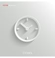 Clock icon - white app button vector image