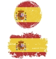 Spanish round and square grunge flags vector image