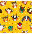 Chinese Zodiac Yellow Gold Polka Dot Background vector image
