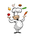 Cartoon chef juggling fresh vegetables vector image