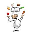 Cartoon chef juggling fresh vegetables vector image