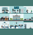 Modern police station building and interior set vector image