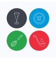 Soup ladle glass and whisk icons vector image