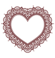 Valentines Day grettings card with heart Mehndi vector image