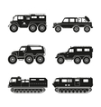 Silhouettes set of the cross-country vehicle vector image