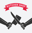 crossed butcher knives vector image