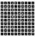 100 children icons set grunge style vector image